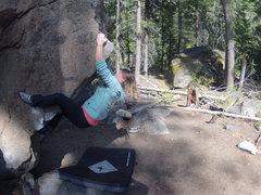Rock Climbing Photo: Lisa on The Fin, V2