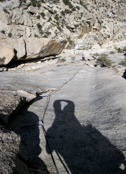 Rock Climbing Photo: Looking down pitch 3.