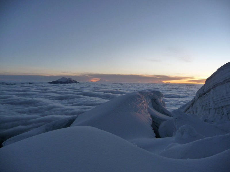 Sea of Clouds at Sunrise on Cotopaxi looking towards Antisana