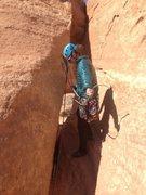 Rock Climbing Photo: Getting the repel setup