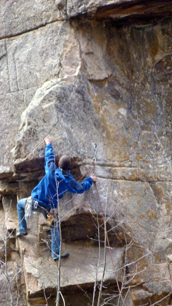 Rock Climbing Photo: Nik working through the bulge/nose feature of Cape...