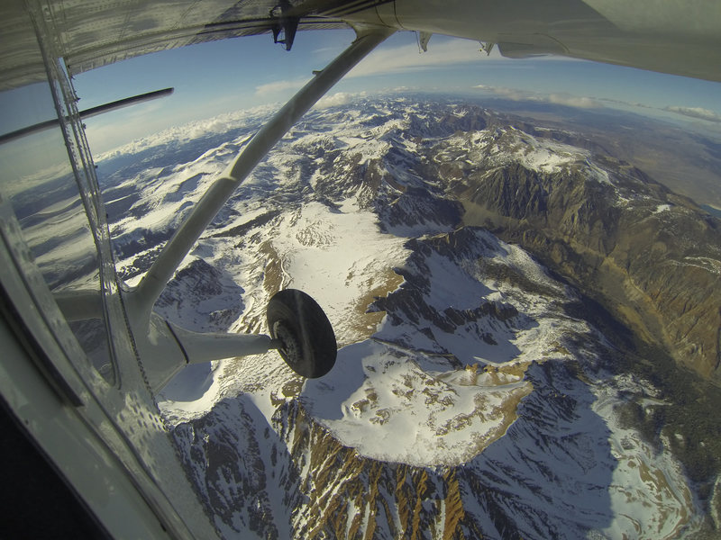 As seen out the window of a Twin Otter aircraft carrying NASA's Airborne Snow Observatory on April 3, 2013.