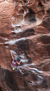 Rock Climbing Photo: Laura at the crux of Rebel Without a Pause
