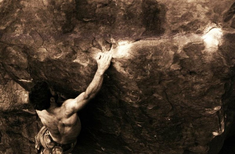 Rock Climbing Photo: A photo I dug up of Andy attempting the SB power e...