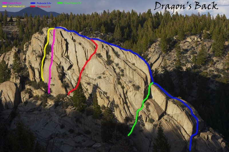 Some of the moderate routes on Dragon's Back.<br> <br> Blue: Proboscis 5.8+<br> Green: Power Pusher 5.9<br> Red: The Ramp 5.6<br> Yellow: Owl Dihedral 5.8<br> Pink: The rappel route