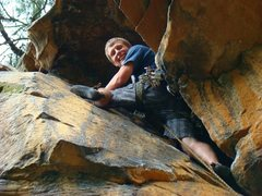 Rock Climbing Photo: I am happily wedged into the chimney after complet...