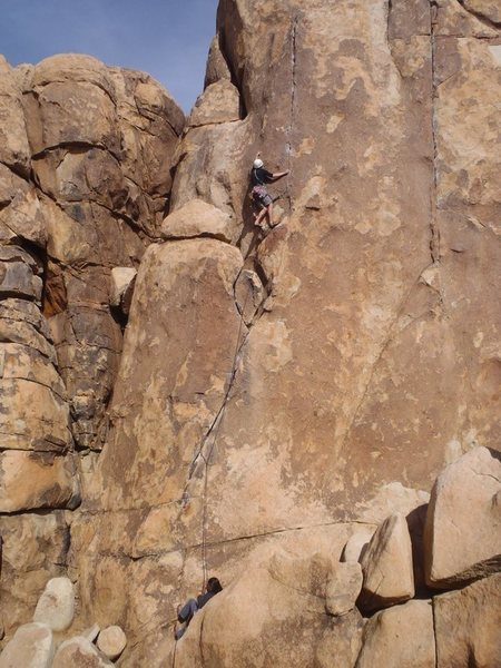 Rock Climbing Photo: Working into the crux after just placing a little ...