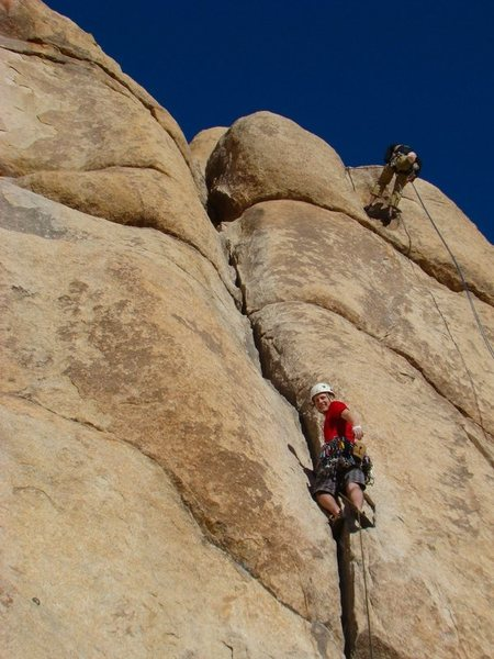 Rock Climbing Photo: Taking a break while leading Double Cross.