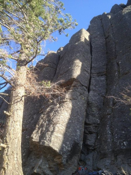 Rock Climbing Photo: Milk Truck is the slabby to near vertical pillar f...