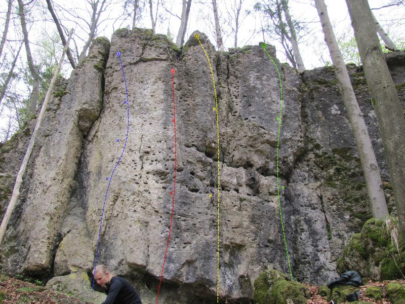 "Rock Climbing Photo: The ""Upper Wall"". Blue is ""4° C&qu..."