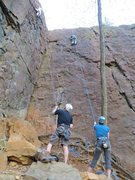 Rock Climbing Photo: The climber on the right is on Quasar