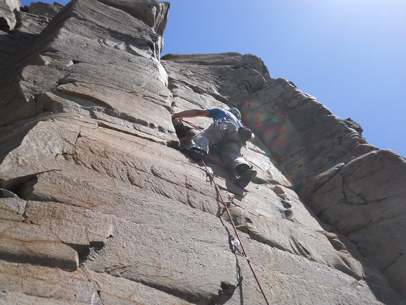 first good route on hike down<br> 5.9+ bolt face to hand crack<br> right side of quarry
