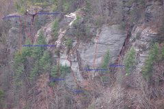 Rock Climbing Photo: Some of the routes in view from Wiseman's.