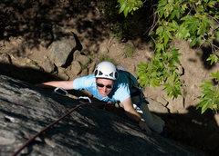 Rock Climbing Photo: Marisa Fienup climbs the left-hand (5.10a) variati...