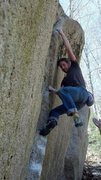 Rock Climbing Photo: In the crux of The Thanksgiver. Photo by E-man Hud...
