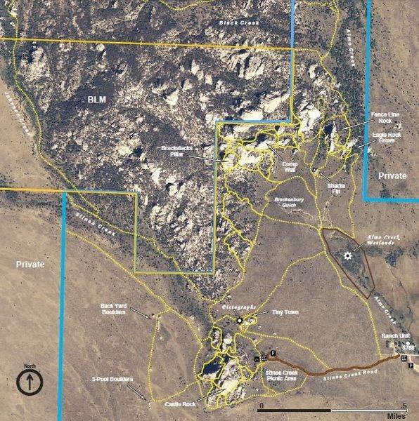 Castle Rocks trail map snippet