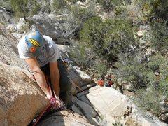 Rock Climbing Photo: Jason above the twin cracks on pitch 1