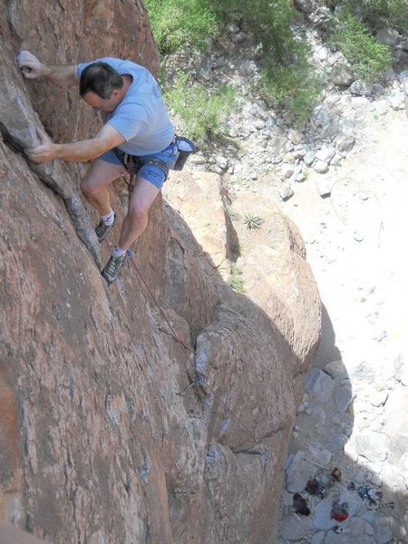 Rock Climbing Photo: Brian B finishing out the lead on Giggling Marlin