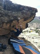 Rock Climbing Photo: Working through the crux on Need a Record Player a...