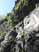 Rock Climbing Photo: This boring photo shows the start of the route Bla...