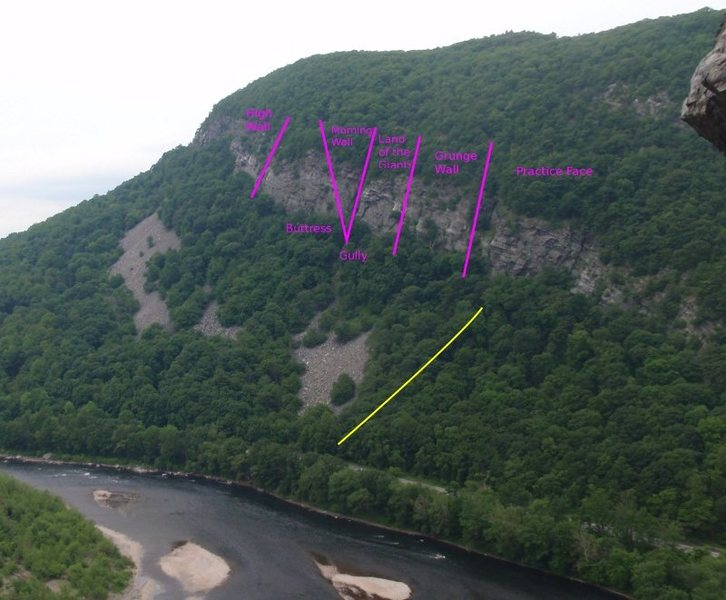 The trail from the cold air cave is shown in yellow.