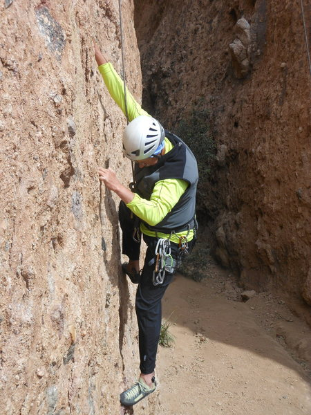 Rock Climbing Photo: Climbing steep pockets and inclusions in the First...