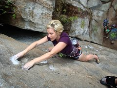 Rock Climbing Photo: Meagan hanging on.