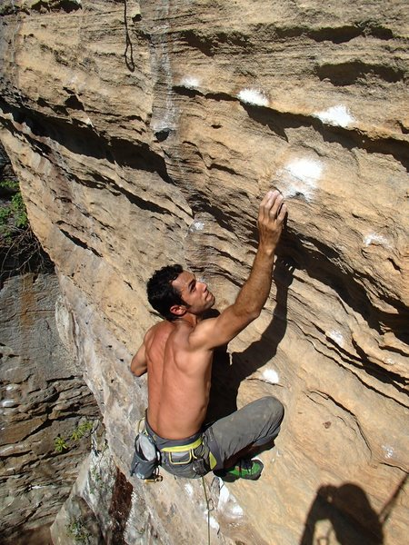 Rock Climbing Photo: Jorge makes the reach!