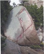 Rock Climbing Photo: The two moderate lines are indicated. To the left ...