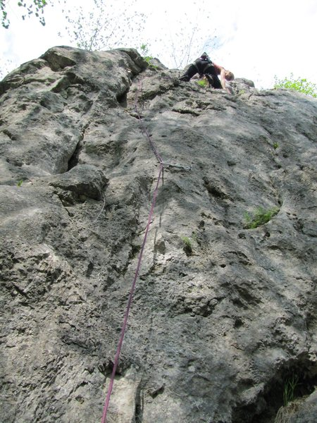 Rock Climbing Photo: Fanny at the anchor of Variante.
