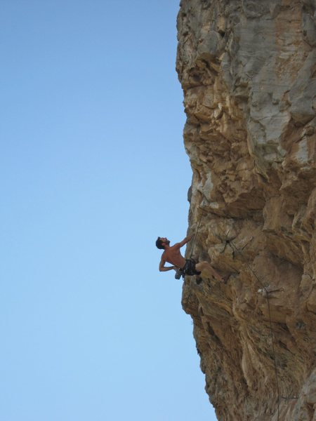 Ryan James on the first of two attempts he needed to get this route. Taylor Lais is belaying.
