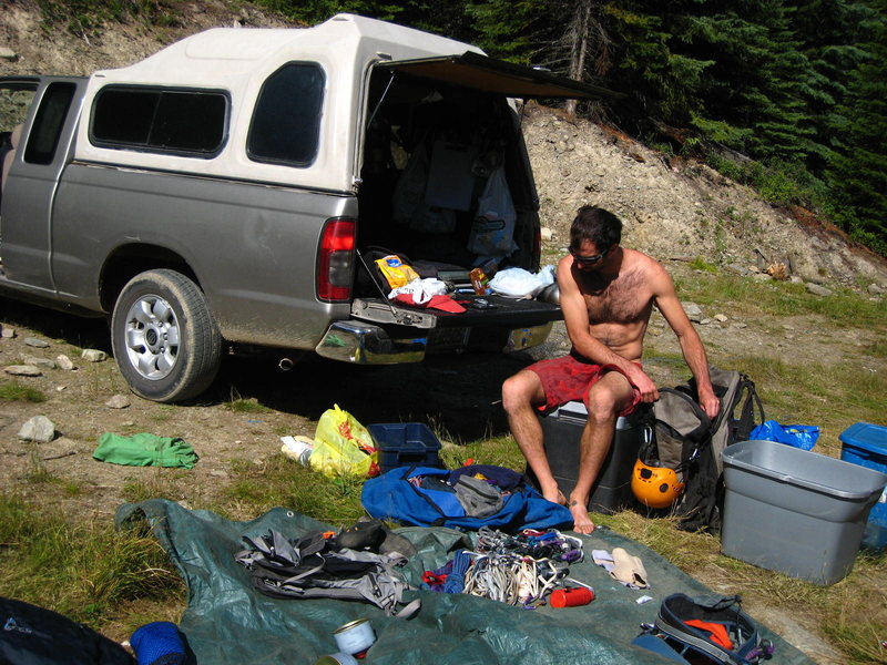 gear sort prior to the hike in
