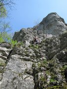 Rock Climbing Photo: Fanny finally at the first bolt of Bruch & Riss af...