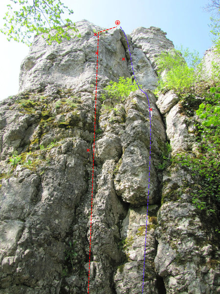 Rock Climbing Photo: Ostwand in red and Ostverschneidung in purple