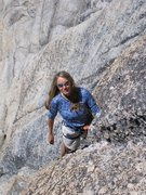 Rock Climbing Photo: Higher up the crack on the first pitch