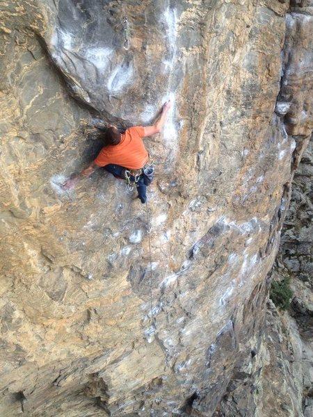 Rock Climbing Photo: My buddy Rob working the crux.