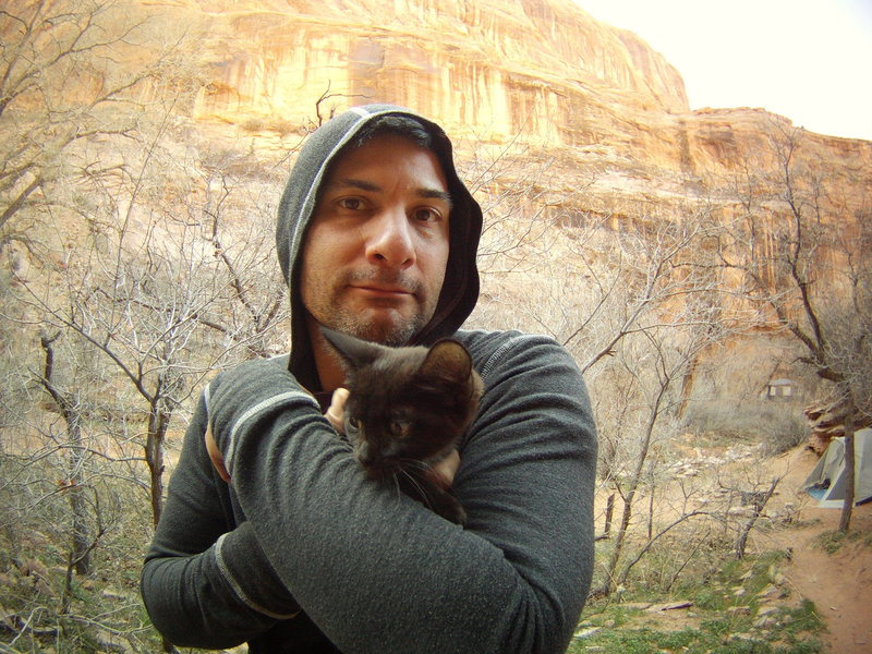 Spring Break Trip to Moab - Steve with &quot;Moonflower&quot; in Moonflower Canyon. March 2013<br> <br>