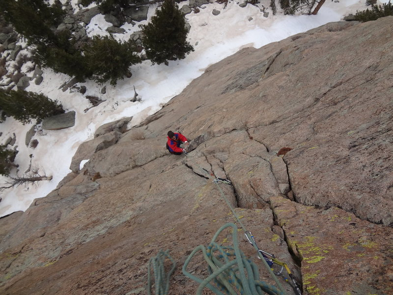 Sundance Buttress. Sidetrack with Mike C.  Last week of April 2013. Lot's of snow still around.<br> <br>