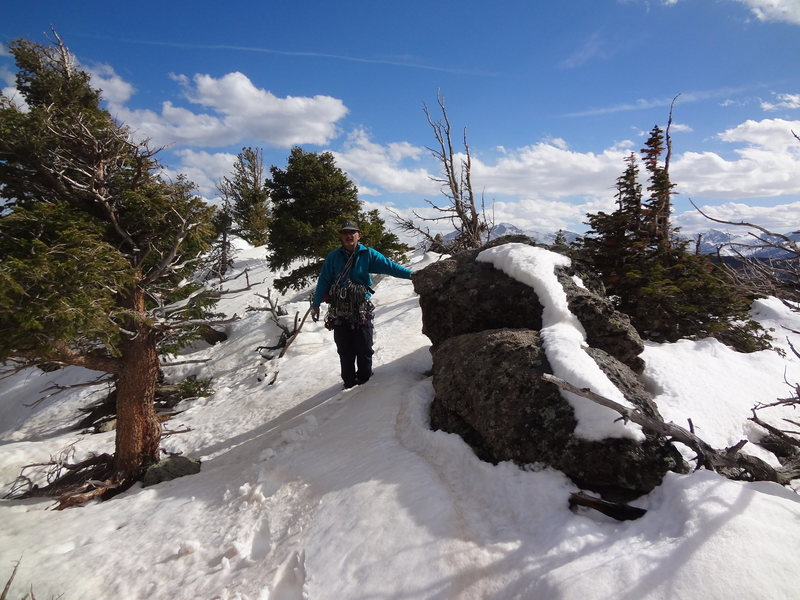 Snowy Summit and descent from Sundance Buttress.  Last week of April 2013.