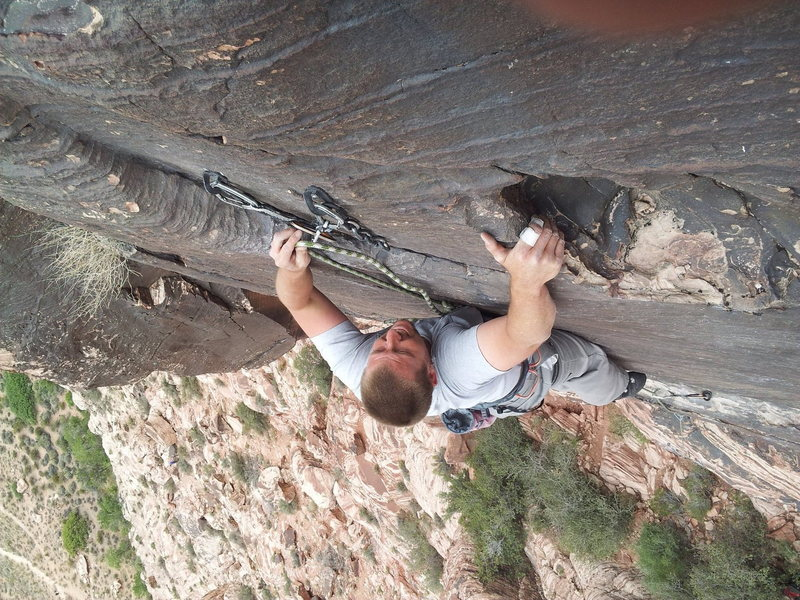 Rock Climbing Photo: Dustin happily clipping the anchors!