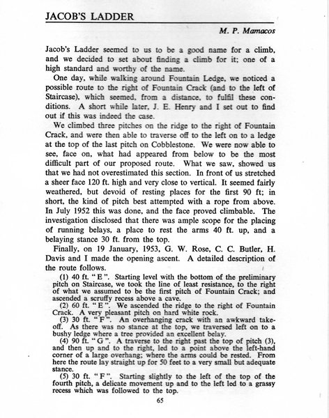 Rock Climbing Photo: Original route description from the 1952 Journal o...