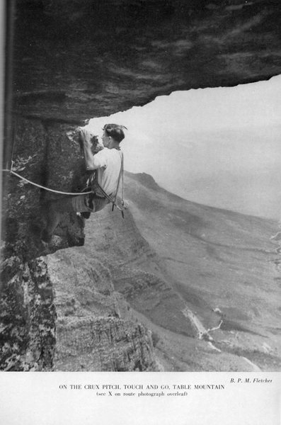 First ascent of Touch & Go, 1961. A couple of pitons and hawser-laid rope. From the Journal of the Mountain Club of S Africa.
