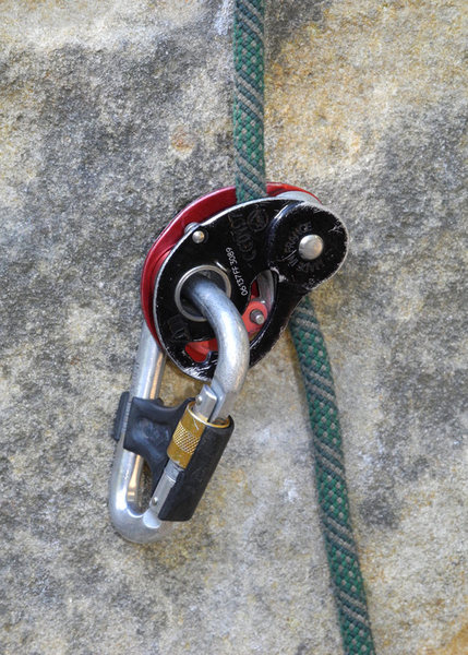 Petzl MiniTraxion device, my preferred device for top-rope soloing.