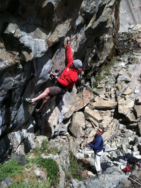 Hansi - 3rd ascent of Thrillbilly .11d.  Larryland, Bowman Lakes, CA.