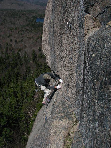 Rock Climbing Photo: Tom Bowker approaching the 2nd pitch belay, Crack ...