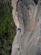 Rock Climbing Photo: Adam and Tom starting up the 3rd pitch, Crack of t...