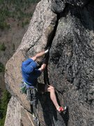 Rock Climbing Photo: Adam working the fat hand jams, pitch 3, Crack of ...