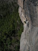 Rock Climbing Photo: Tom seconding, 3rd pitch, Crack of the World