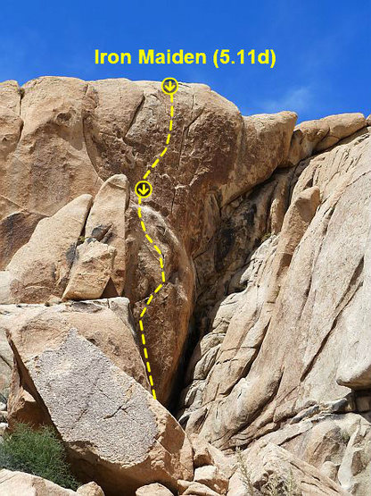 Rock Climbing Photo: Iron Maiden (5.11d), Joshua Tree NP