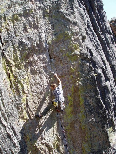 """""""Grippin' it and rippin' it"""" on Fuigitive just below the crux"""